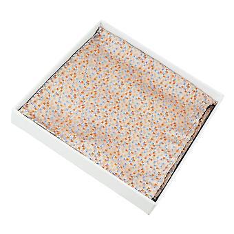 Ties Planet Orange, Silver & Blue Micro Checked Silk Pocket Square Handkerchief