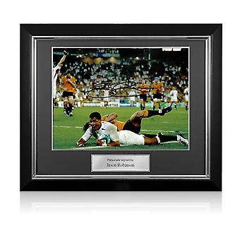 Jason Robinson Signed England Photo: 2003 Rugby World Cup Winner. Deluxe Frame