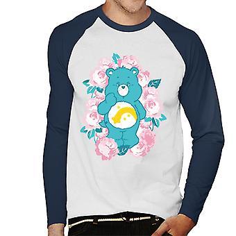 Care Bears Wish Bear Pink Flowers Men's Baseball camiseta de manga larga
