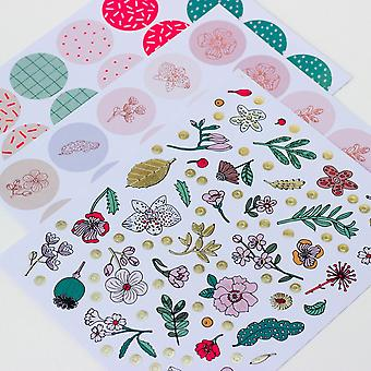 Hygge Stickers 250 Scandi Style Botanical Flowers Gold Foiled