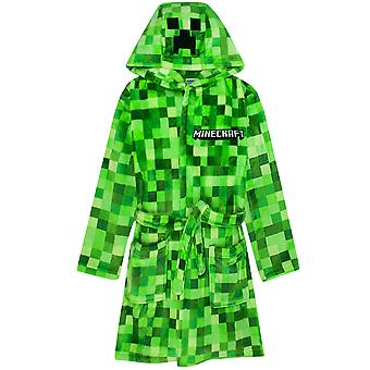 Minecraft Creeper Dressing Gown For Boys & Girls | Kids Green Soft Pixelated Bathrobe With Creeper Face Hood | Teens & Children's Nightwear Robe | Gamer Gifts