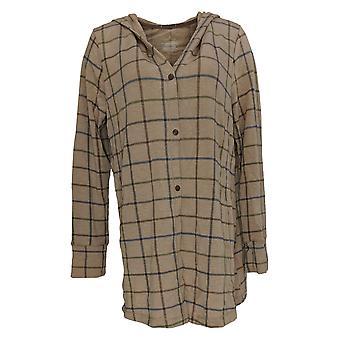 Cuddl Duds Women's Sweater Comfortwear Snap Closure Hoodie Brown A310282