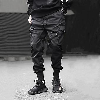 Men Ribbons Pocket Cargo Harem Joggers  Hip Hop Trousers Pants