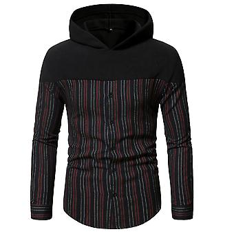 Men's Striped Hooded Long Sleeve Casual Shirt