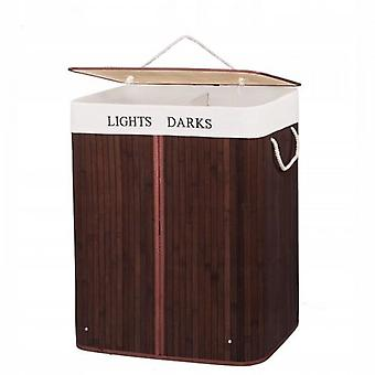 Laundry basket with lid 100L Brown