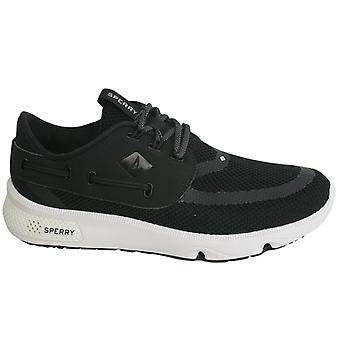 Sperry 7 Seas Lace Up Black Mesh Textile Mens Casual Trainers STS15524 B27