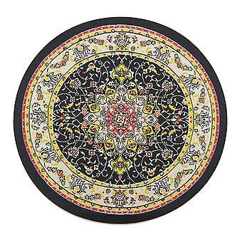 Dolls House Czarny Beżowy Okrągły Dywan Miniaturowy Okrągły Turecki Tkany Dywan