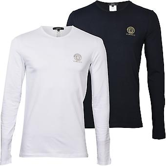 Versace 2-Pack Iconic Crew-Neck Long-Sleeve T-Shirts, Black/White