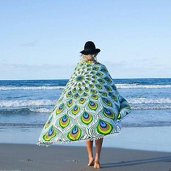Tassels Peacock Pattern Beach Towel