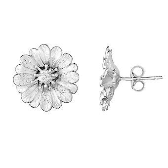 Sterling Silver Round Flower Stud Earrings