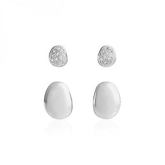 Joma Jewellery Perfect Pebble Silver Set Of Stud Earrings 3946