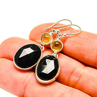 "Black Onyx, Peridot Earrings 1 3/4"" (925 Sterling Silver)  - Handmade Boho Vintage Jewelry EARR411125"