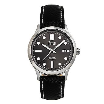 Reign Henry Automatic Canvas-Overlaid Leather-Band Watch w/Date - Gunmetal