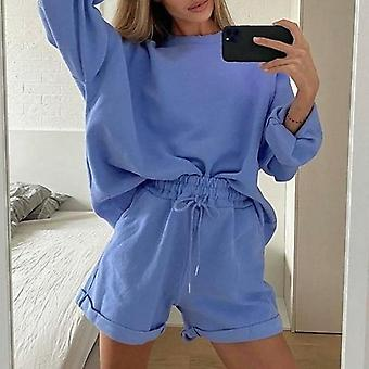 Solid Color Loose Women's Two Piece Casual Long Sleeve Lace Up Suit