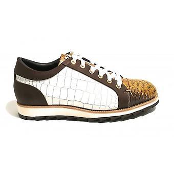 Harris Men's Sneaker In Leather White Coconut Print/ Mustard Reptile Print/ T. Moro U17ha101