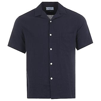 Portuguese Flannel Flame Short Sleeve Shirt - Navy
