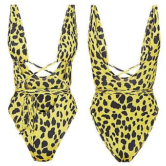 Summer Sexy Women One Piece Leopard Print Bandage Bathing Suit Push Up Padded
