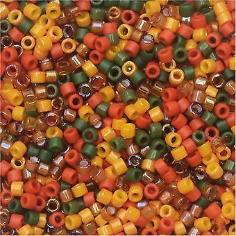 Miyuki Delica Seed Beads, 11/0 Size, #DB-MIX9052 Autumn Squash Mix, 7.2 Gram Tube