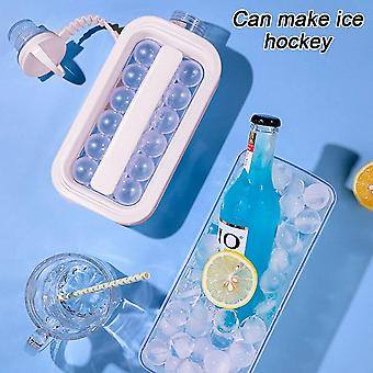 Ice Ball Maker 2 In 1 Portable Creative Ice Kettle Cubic Container Ice Cube(27.3*11.4cm,Pink)