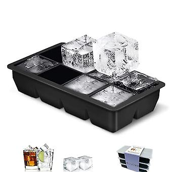 8 Grids Square Ice Cube Tray Mould Ice Cubes Mold DIY Ice Cream Making Mould(21.5*11.5*5.2cm,Black)