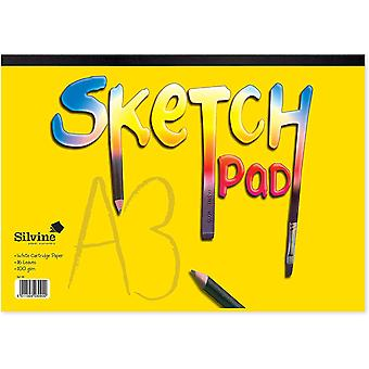 Silvine #411 Yellow Cover Sketch Pad Gummed A3