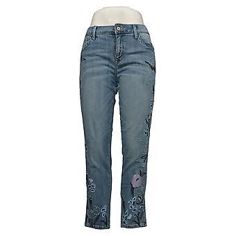 Laurie Felt Women's Jeans Reg Classic Denim Embroidered Blue A305697