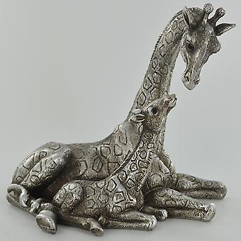 Antikk sølv sjiraff familie ornament