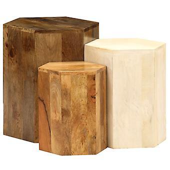שולחן קפה vidaXL להגדיר 3 חלקים מנגו עץ מוצק
