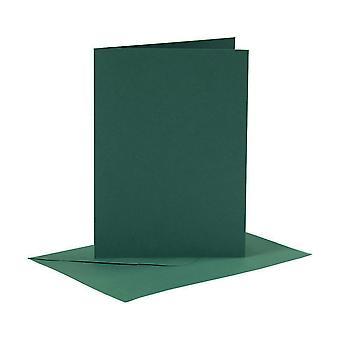 6 mørkegrønne A6-kort og konvolutter for kortlagingshåndverk   Kort making blanks