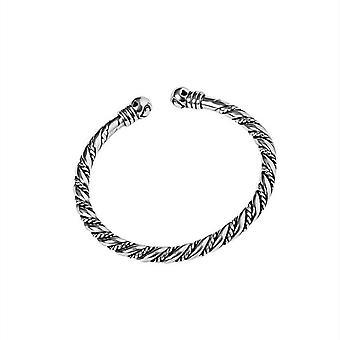 צמיד שרשרת ציפוי כסף ארוג טוויסט רטרו במצוקה ייחודי עיצוב זוג מתנות