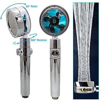 Duschkopf Wassersparender Durchfluss 360 Grad Drehung mit kleinem Ventilator ABS Regen Hochdruck-Sprühdüse Badezimmerzubehör