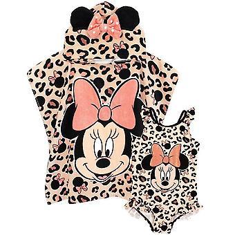 Disney Girls Minnie egér fürdőruha és Poncho szett