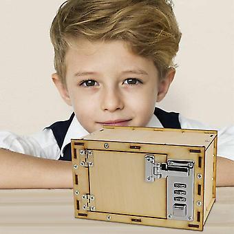 Kids Diy Assembling Wooden Mechanical Password Safe Box Model Piggy Bank Coin