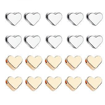 Heart Spacer Kralen, 120 stuks Goud Zilveren Hart Charms Spacer Kralen Voor Diy Sieraden Maken, Armband, Ketting, Oorbellen, 6 X 7 Mm