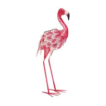 Summerfield Terrace Solar Light-Up Pink and White Metal Flamingo Garden Decor, Pack of 1