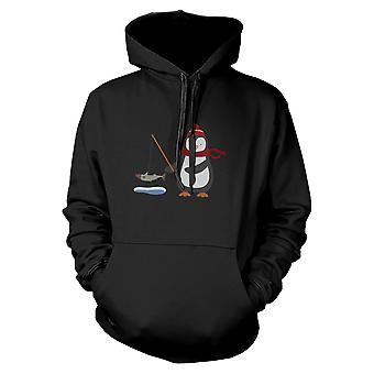 Penguin Fishing Hoodie Christmas Sweatshirt Graphic Print Sweater