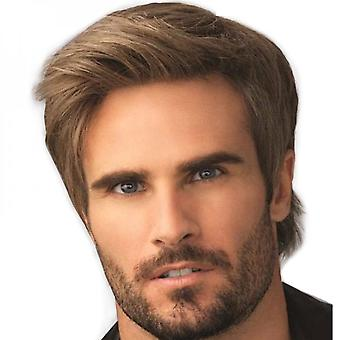 Men Natural Brown Short Straight Wigs Synthetic Full Hair Wig