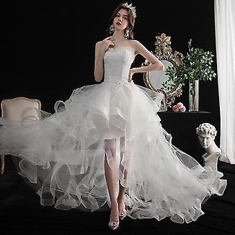 Lyhyt pitkä selkä olkaimeton hääpuku makea bride mekko