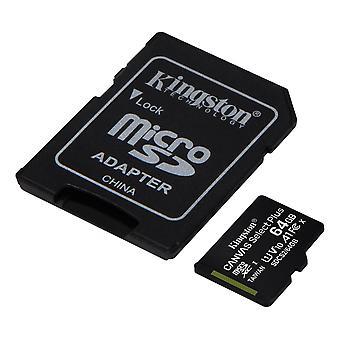 Kingston 64GB mikrofónový výber plátna Plus 100R A1 C10 Card + ADP