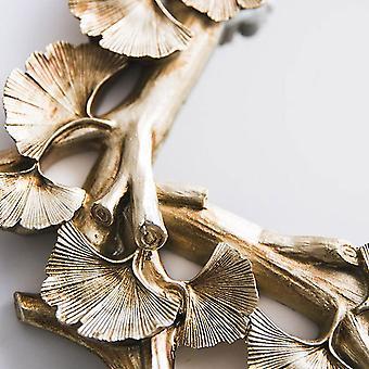 Rétro vintage rectangulaire feuille de gingko sculptée et miroir plateau