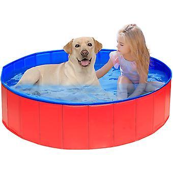Pliere Dog Pool, Câine / Pisică / Animal Duș Tava Cada cadă în aer liber Loc de joacă-roșu 80 * 20cm