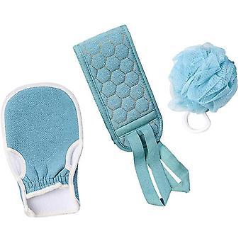 3st Exfolierande badskrubber set duschhandskar bad kroppsborste kit