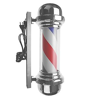 Led Barber Shop Sign Pole Light Red, White And Blue Striped Design Rotting Salon Wall Mounted Light