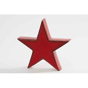 Red Ceramic Xmas Star Chrotmas Tree Decoration 22cm
