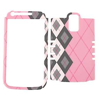 Unlimited Cellular Rocker Snap-On Case pour Samsung Galaxy S2 Hercules T989 - Black / White Plaid on Pink