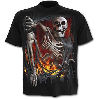 Spiraal-dood re-Ripped-mannen zwart korte mouw t-shirt