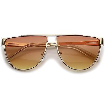 Moderne Flat Top verloop gekleurde vlakke Lens metalen Aviator zonnebril 63mm