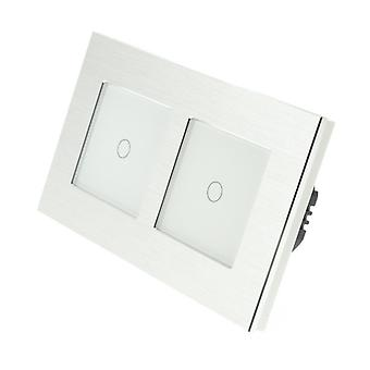 I LumoS Silver Brushed Aluminium Double Frame 2 Gang 2 Way WIFI/4G Remote & Dimmer Touch LED Light Switch White Insert