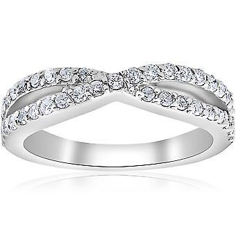 3 / 8ct Diamond Crossover Infinity stables bryllup Band vri Ring hvitt gull