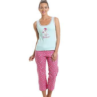 Camille 100 % coton rose & Aqua bleu caniche recadrée ensemble Pyjama